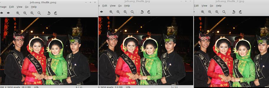 Perbandingan gambar pada kondisi ideal, dari kiri ke kanan, File Asli, File setelah di Export ke JPG dan file setelah di scale.