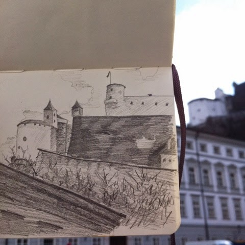 Festung Hohensalzburg castle Salzburg drawing