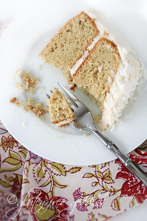 Delicate and moist coconut cake with creamy vegan frosting