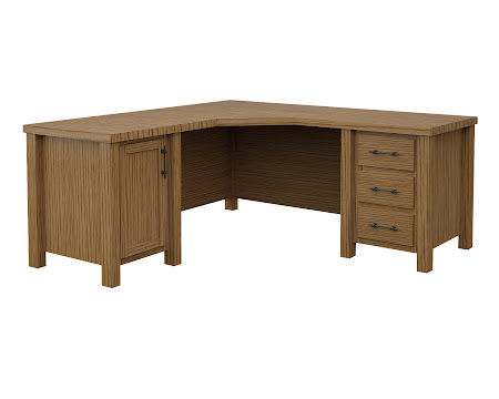 Ashton L-Shaped Desk in Tennessee Hickory
