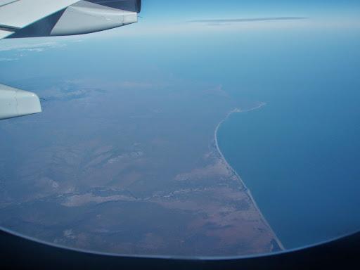 飛行機から見たユーラシア大陸の東の端