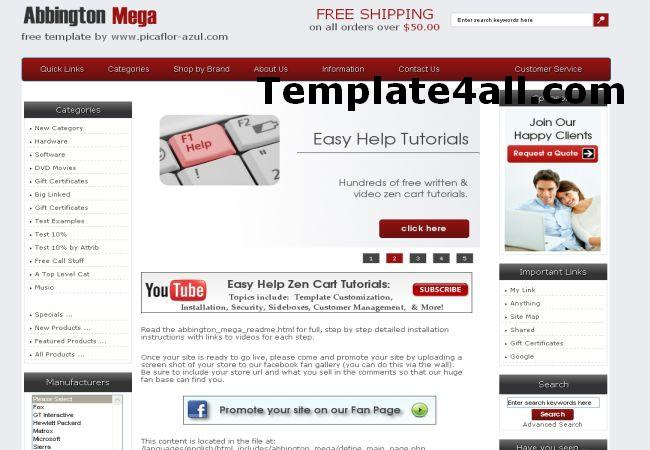 Free Red Chrome Zencart Theme Template