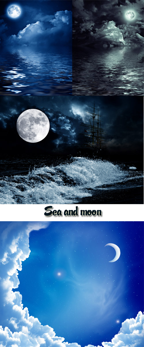 Stock Photo: The full moon in the sky with clouds and sea