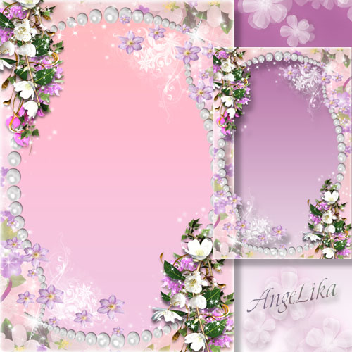 Flower Frame - Pearls and Flowers, Beauty and Charm