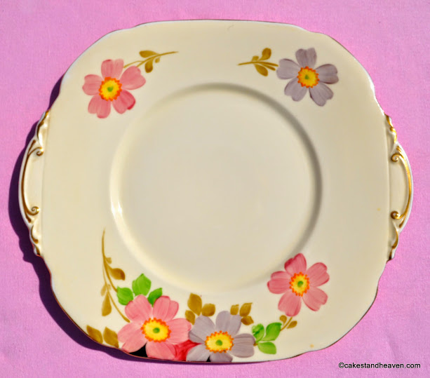 Roslyn Reid and Co Cream Fine China Vintage Hand Painted Cake Plate