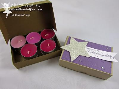 Stampin' Up! Weihnachten, Christmas, Pizza Box, Stars, Sterne, Banner, Wunderbare Weihnachtsgrüße, Bright&Beautiful, Zauber der Weihnacht, Teelicht-Verpackung, tea lights