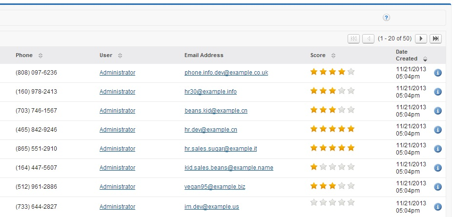 Rating Fields addon for SugarCRM CE