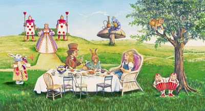 painting of mad hatter's tea party from Alice in Wonderland