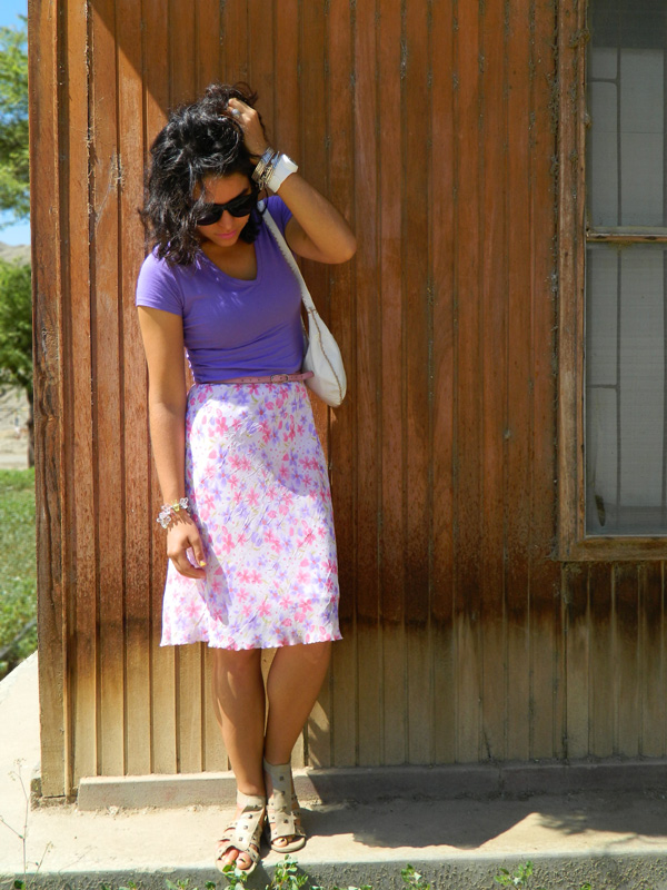 pastel color flower skirt outfit