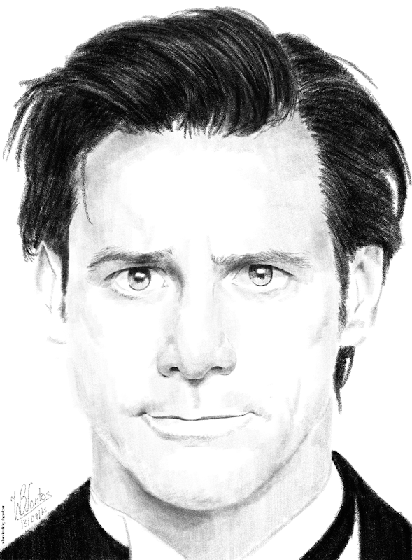 Pencil drawing of Jim Carrey as Mr. Popper, using Krita.