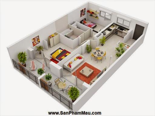 Phương án thiết kế mặt bằng có 2 phòng ngủ đẹp - Tủ âm tường-6