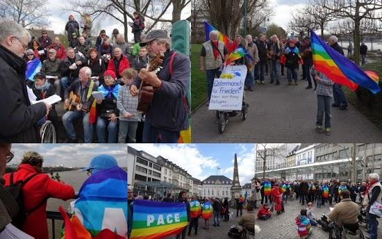 Fotocollage: Fünf Bilder vom Ostermarsch Bonn.