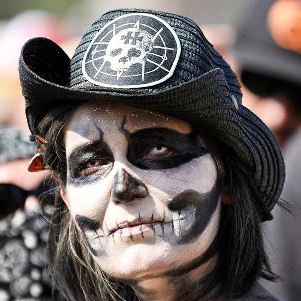 A heavy metal fan poses for a photograph during the Hellfest Heavy Music Festival on June 20, 2014 in Clisson, western France.