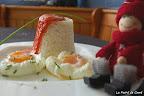 Arroz blanco con huevos poché