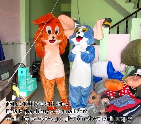 quần áo mascot con mèo và con chuột tom và jerry cho thuê giá rẻ