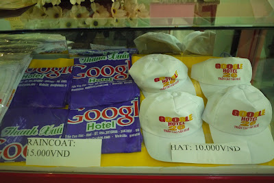 Google Hotel's raincoats and hats for sale