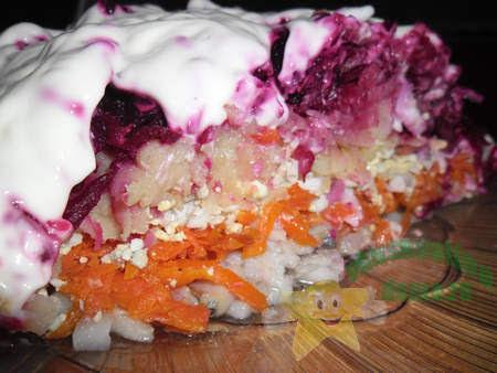 Салат Вкусная селедка под шубой