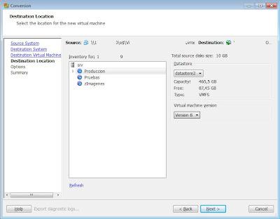 Convertir máquina virtual VMware Server a VMware ESXi