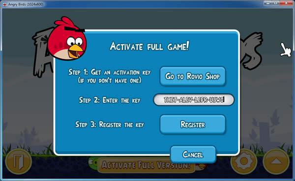 Activar angry birds 2.0.0 para pc