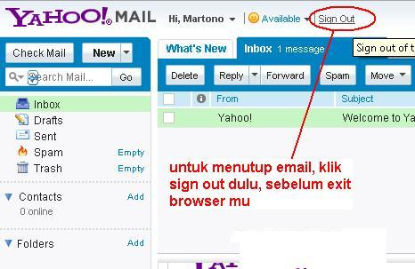 10. jika sudah selesai melakukan aktifitas pada email kamu, Klik pada ...