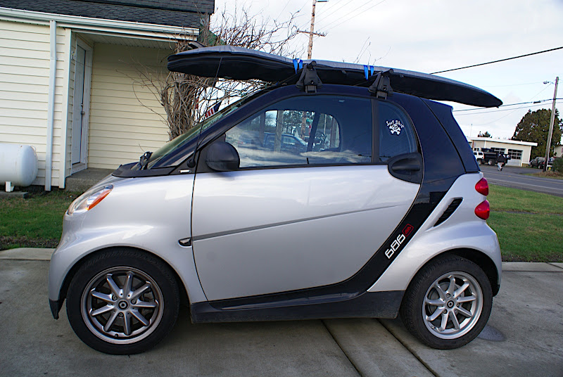 Smart Car Seattle: Roof Rack Yakima + Surfboard Rack
