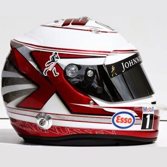 Le citazioni di Kevin Magnussen: un richiamo al disegno del casco del padre Jan (ovvero la freccia rossa che compone la K) e una scelta di colori patriottica (rosso e bianco come nella bandiera danese)