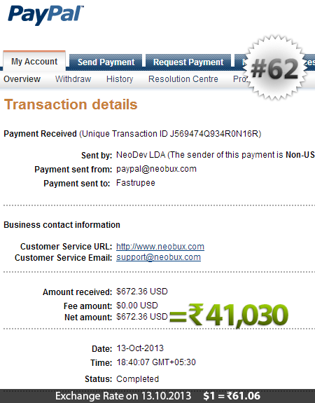Neobux Payment Proof 62