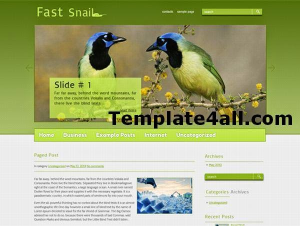 Free Nature Green Birds Wordpress Theme
