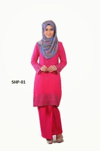 baju kurung moden shocking pink merah jambu baju raya 2014