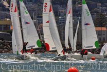 J/22 one-design sailboats- team racing at St Francis YC in San Francisco, CA