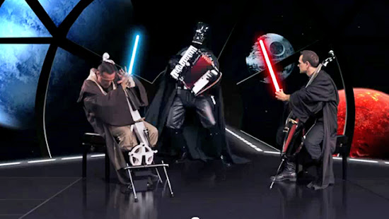 "Imagem do clip Cello Wars do pessoal do ""The Piano Guys"