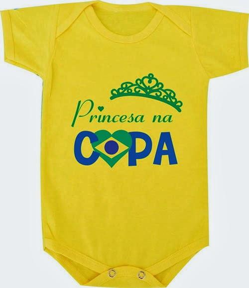 Body engraçado para bebês com tema Copa do Mundo Brasil
