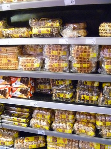 the waffle aisle in the grocery store, Brussels, Belgium
