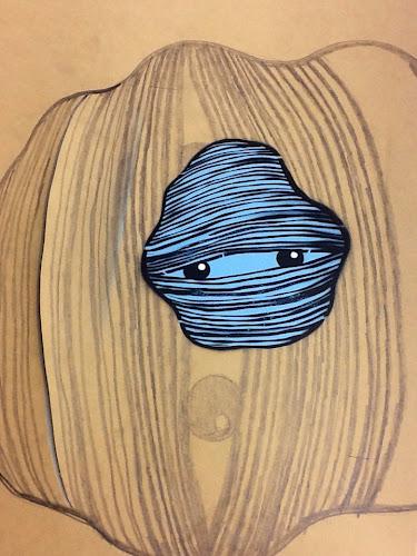 Hairball street art stencil