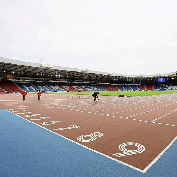 A general view of the athletics and track and field facilities at Hampden Park Stadium is pictured in Glasgow, Scotland on July 22, 2014, ahead of the start of the 2014 Commonwealth Games which begin on July 23, 2014.