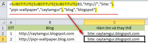 Hàm thay thế chuỗi/ký tự trong Excel
