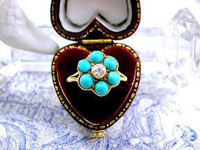 Victorian Diamond Ring 18ct Gold Turquoise Forget me Not c1840