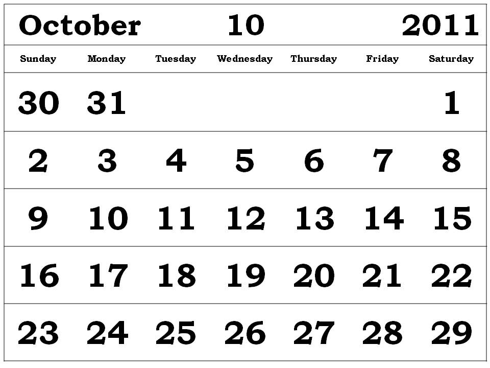 calendar october 2011. Free printable October 2011
