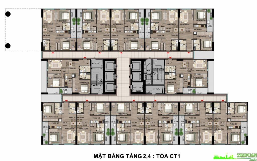 Mặt bằng tầng 2 -4 tại dự án chung cư Bộ Công An - Cổ Nhuế