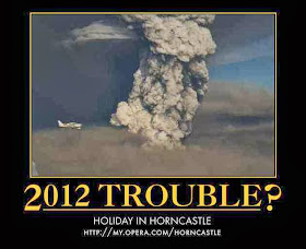 big billowing dirty ash cloud eruption with small plane - 2012 Problem, Holiday in Horncastle!