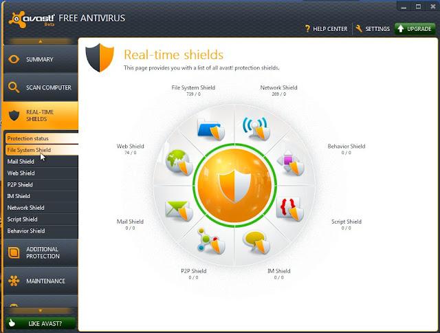 Avast 7 Beta Real Time Shields summary