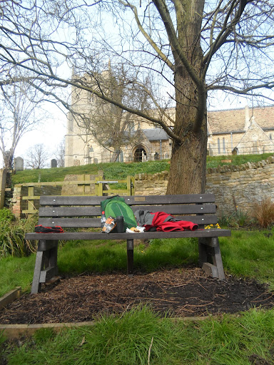 Lunch outside Holywell Church