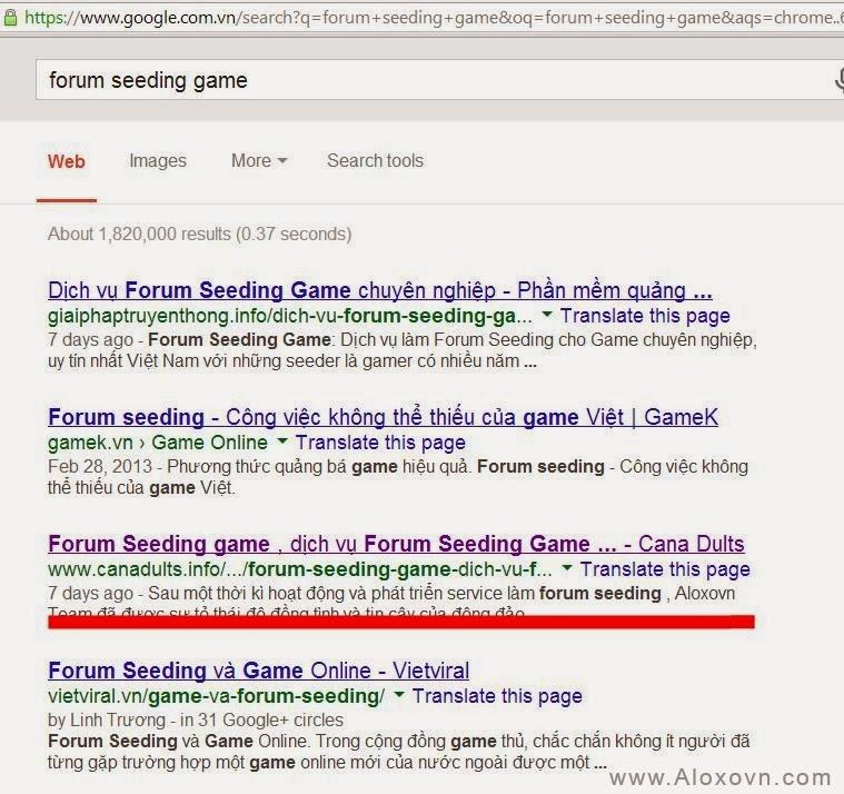 Site vệ tinh lên top với các từ khóa liên quan đến seeding game