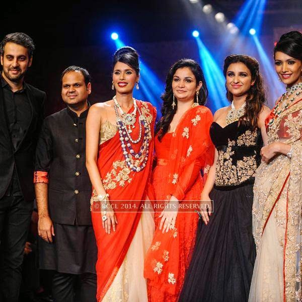 Bollywood actress Parineeti Chopra with others for Bridhichand Ghanshyamdas Jewellers on Day 3 of India International Jewellery Week (IIJW), 2014, held at Grand Hyatt, in Mumbai.