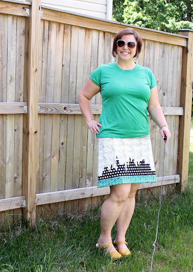 Jungle Ave. Skyline Skirt || Fabric by Sew Sweetness, design by Made with Moxie