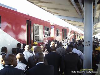 Inauguration de neuf locomotives de la SNCC par le Premier ministre, Augustin Matata Ponyo Mapon, à Lubumbashi (Katanga)