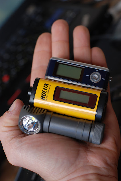 MP3 Player, GPS and the headlamp in my hand