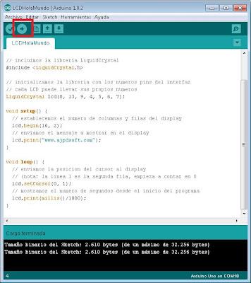Programa Arduino para mostrar texto en display LCD y contador que se va incrementando