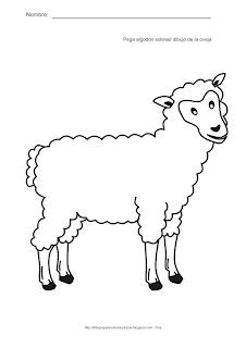 Actividades para estimulación temprana. Pega algón sobre el dibujo de la oveja. Ayuda a tu niño a identificar, asociar y relacionar la oveja con el color blanco y el sentido del tacto suave