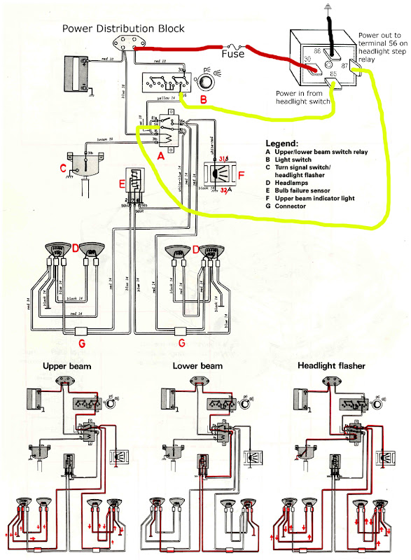 HeadlightWiringDiagram super simple headlamp circuit upgrade for 240 models turbobricks volvo 240 fuse box upgrade at fashall.co